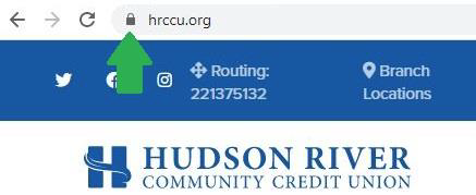 closeup image of the Hudson River Community Credit Union URL with the https secured website lock icon