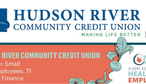 banner showing Hudson River Credit Union was named Healthiest Employer in the Small Business category
